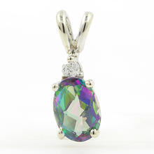 Estate Ladies 10K White Gold Mystic Topaz Oval Cut Gemstone Diamond Pendant