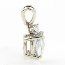 Estate Ladies 10K White Gold Mystic Topaz Oval Cut Gemstone Diamond Pendant