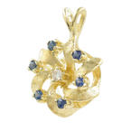 Charming Estate Ladies 14K Yellow Gold Diamond Topaz 23MM Pendant