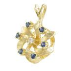 Charming Estate Ladies 14K Yellow Gold Diamond Topaz 23MM Pendant