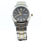 Men's Seiko Solar V158-0AB0 Black Dial Gold Tone Watch