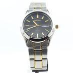 Men's Seiko Solar V158-0AB0 Black Dial Gold Tone Watch