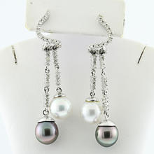 Glamorous Tahitian Pearl Chandelier 0.70CTW Diamond Drop 14K White Gold Earrings