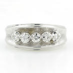 Vintage Estate 14K White Gold Diamond 0.15CTW Ring Band Jewelry