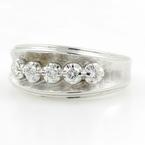 Vintage Estate 14K White Gold Diamond 0.15CTW Ring Band Jewelry