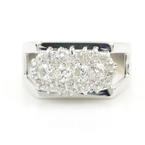 Retro Vintage Ladies 14K White Gold Round Diamond Cluster 0.75CTW Right Hand RIng