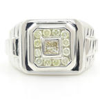 Handsome Men's Vintage 14K White Gold Diamond 0.90CTW Rolex Size 11 Ring