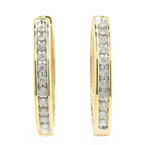Vintage Estate 10K Yellow Gold Diamond Huggie Hoop Earrings - 25MM - 0.44CTW