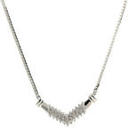 "Retro Vintage Estate 14K White Gold Diamond 0.33CTW 17 1/2"" Flat Chain Necklace"