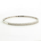 "Retro Vintage 10K White Gold Diamond 1.60CTW Statement 7"" Bangle"