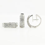 Gorgeous Classic Estate 14K White Gold Diamond Ladies Ring Earrings Set - 1.62CTW