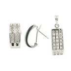 Ladies Modern 14K White Gold Diamond Huggie Hoop Earrings Pendant Set - 0.98CTW