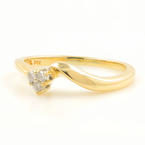 Fine Vintage Estate Ladies 14K Yellow Gold Bypass Diamond Right Hand Ring