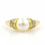 Classic Ladies 14K Yellow Gold Faux Pearl Champagne Diamond Right Hand Ring
