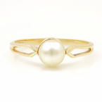 Beautiful Vintage Estate Classic Ladies 10K Yellow Gold Cultured Pearl Ring