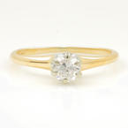 Vintage Estate 14K Yellow Gold Diamond Solitaire Engagement Ring - 0.20CTW