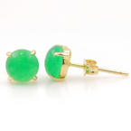 Classic Estate 14K Yellow Gold Cabochon Emerald Push Back Stud Earrings