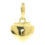 Charming Estate 18K Yellow Gold High Polished Ornate Heart Lock 25MM Pendant