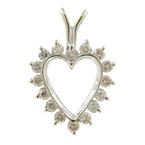Modern Estate 14K White Gold Diamond 0.23CTW Open Heart 20MM Pendant