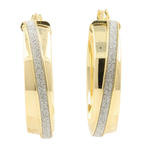 Estate 14K Yellow White Gold High Polished Sand Blast Hollow Hoop Earrings