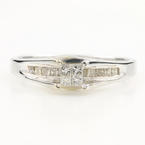 Classic Ladies 14K White Gold Princess Cut Diamond 0.44CTW Engagement Ring