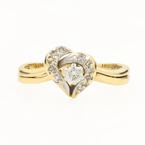 Estate Vintage 14K Yellow Gold Diamond 0.25CTW Heart Anniversary Ring Set
