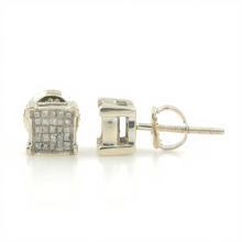Classic Estate 14k White Gold Princess Cut Diamond 0.50CTW Studs Screw Back Earrings