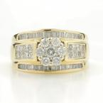 Estate Ladies 14K Yellow Gold Diamond 1.48CTW Bypass Rosita Right Hand Ring