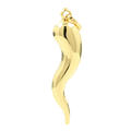 Estate 14K Yellow Gold High Polished Italian Cornicello Good Luck Pendant - 45mm