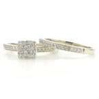 Classic Modern 10K White Gold Princess Cut Diamond 0.96CTW Wedding Ring Duo Set
