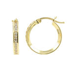 Classic Estate 10K Yellow Gold Cubic Zirconia Hoop 17MM Saddle Back Earrings