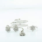 1 CTW Diamond Snow Flake Jewelry Design 14K White Gold Ring Necklace & Earrings