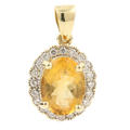 Vintage Estate Classic 14K Yellow Gold Oval Citrine Diamond Halo Pendant