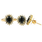 Ladies Vintage Estate 14K Yellow Gold Diamond & Onyx Gemstone Ring Earrings Set