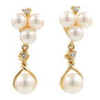 Estate Ladies 18K Yellow Gold Pearl Diamond Drop Push Back Earrings
