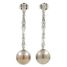 Classic Ladies Estate 14K White Gold Pearl Drop Cubic Zirconia 35MM Earrings