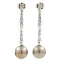 Classic Ladies Estate 14K White Gold Pearl Drop Cubic Zirconia 35MM Earrings
