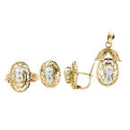 Lustrous Ladies Estate 14K Yellow Gold Baroque Pearl Ornate 3PC Jewelry Set