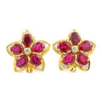 Modern Estate Ladies 14K Yellow Gold Spinel Floral Latch Back Earrings