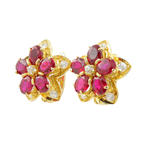 Vintage Classic Estate Ladies 14K Yellow Gold Spinel Floral Latch Back Earrings
