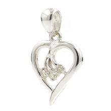 Estate Ladies 14K White Gold Diamond Heart 21MM Pendant
