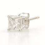 Classic Modern Estate 14K White Gold Diamond 0.25CTW Single Stud Earring