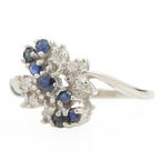 Fine Vintage 10K White Gold Blue Sapphire  Diamond Gem Right Hand Ring