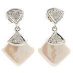 Lustrous Ladies 14K White Gold Pearl Diamond Push Back Drop Earrings