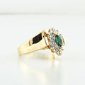 14K Yellow Gold Emerald Green Marques & Diamond Cocktail Jewelry 3D Ring