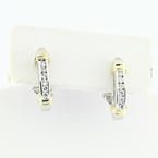 Ladies Two Tone 14K Gold Diamond Omega Lock Earrings
