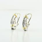 Ladies Two Tone 14K Gold Diamond Omega Lock Earrings