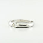 Stackable 14K White Gold Oval Bezzel Set Diamond Tapered Band Cocktail Ring