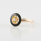 Vintage Yellow & Rose Gold Flower Setting Round Diamond Black Enamel Ring