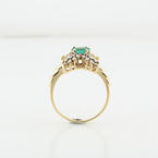 Oval Emerald & Diamond Ripple 14K Yellow Gold XOXO Ring Size 6.5 LOT1777